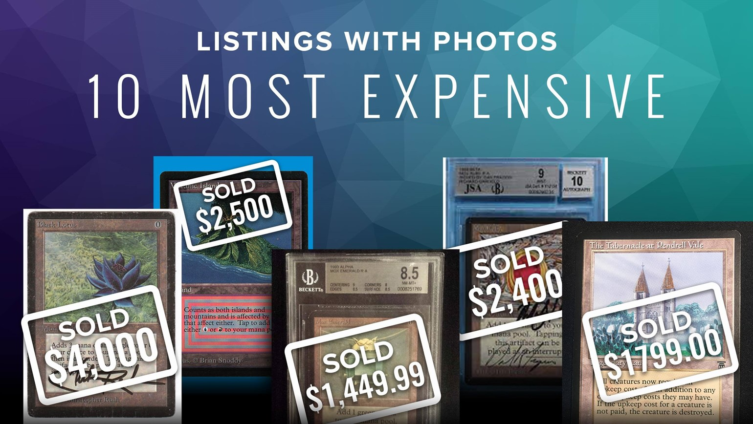 Top 10 Most Expensive Listings with Photos Sold So Far