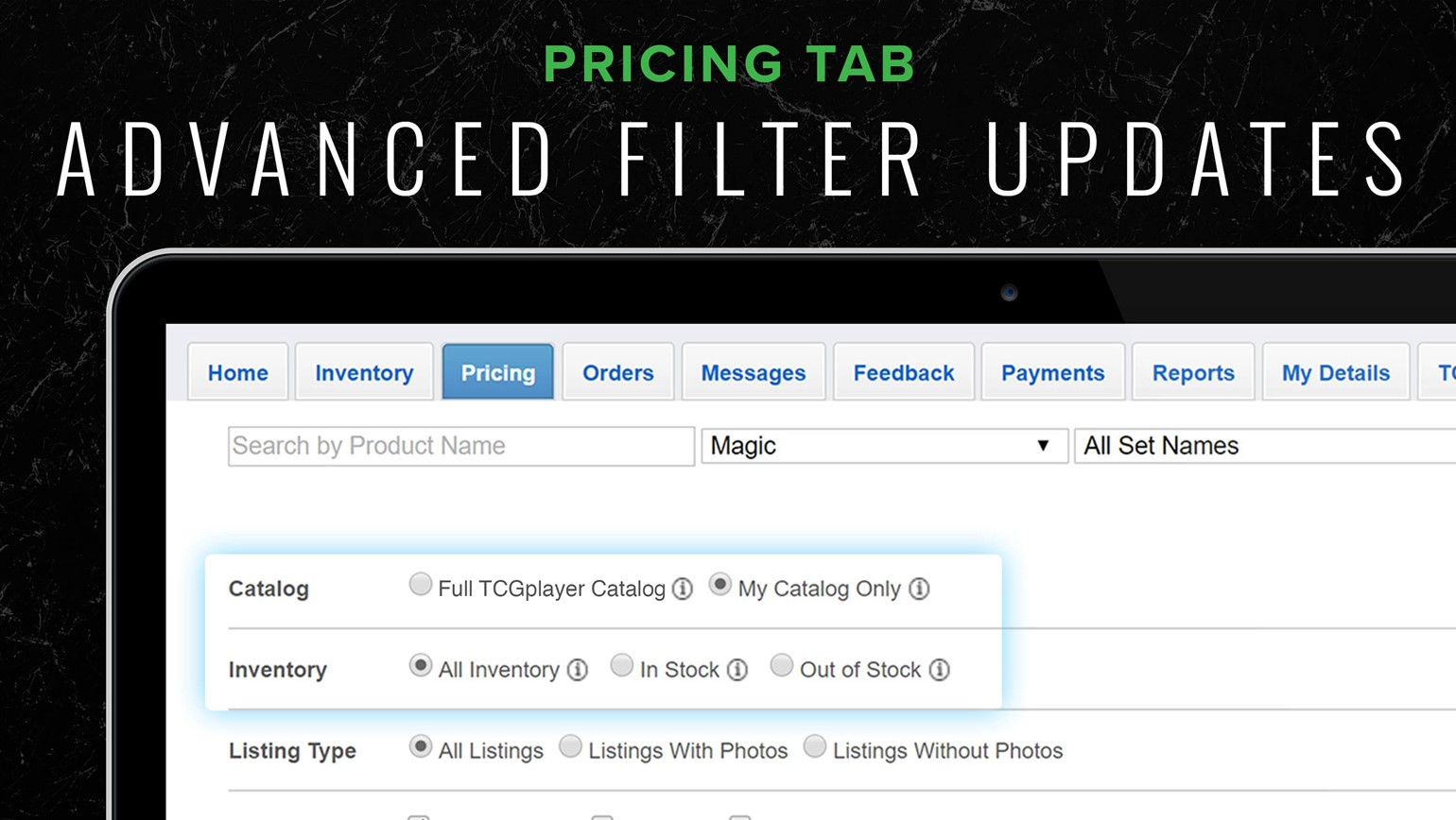 Manage Inventory More Effectively with Updated Pricing Tab Filters