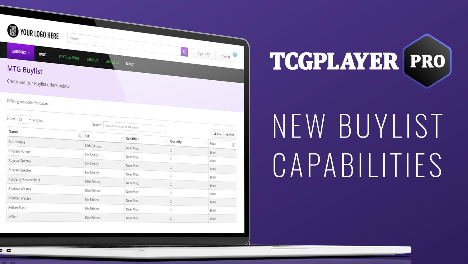 New for Pro: Add Your Buylist to Showcase, Website and the TCGplayer Marketplace