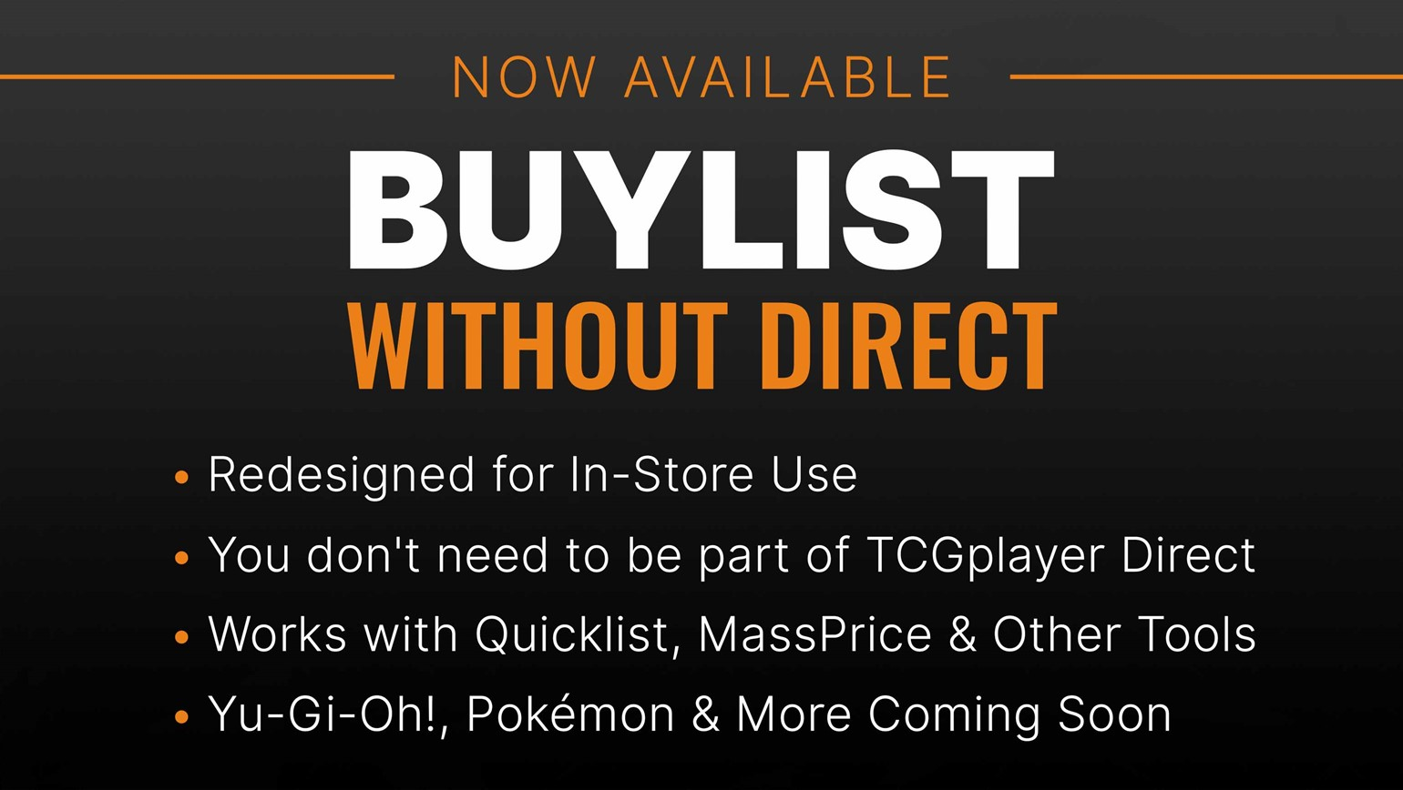 Buylist Without Direct Available for All Pro Sellers to Restock Inventory & Grow Profits