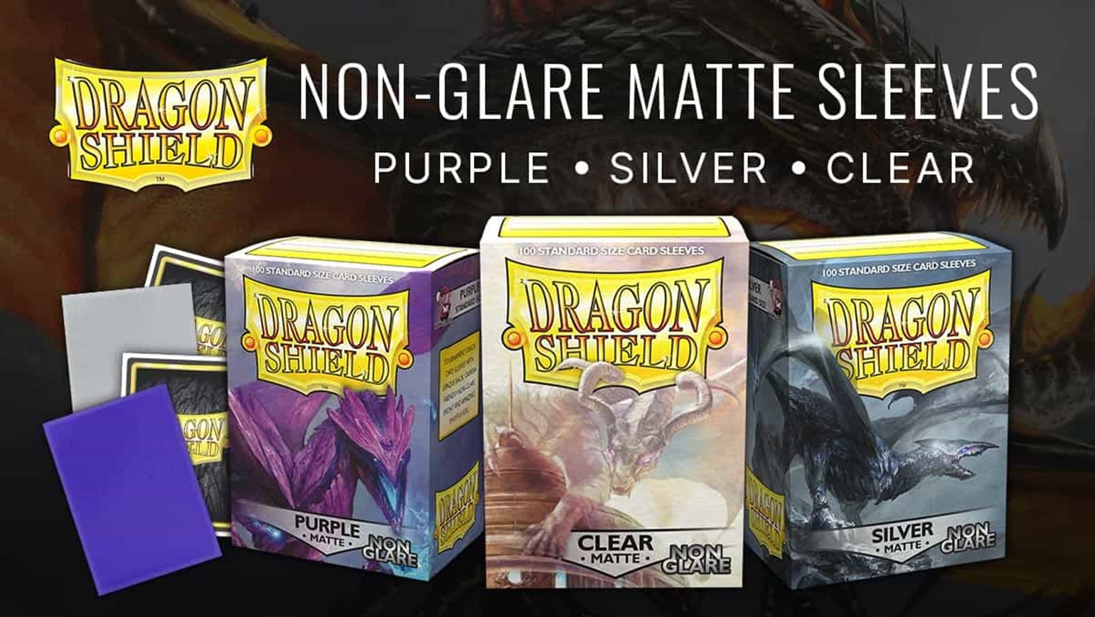 Dragon Shield Non-Glare Matte Purple, Silver and Clear Sleeves Added to TCGplayer Catalog