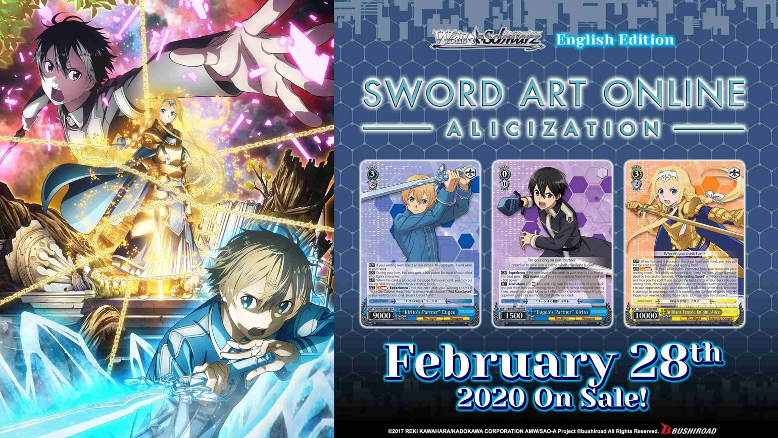 Sword Art Online -Alicization- Coming to Weiss Schwarz on February 28th