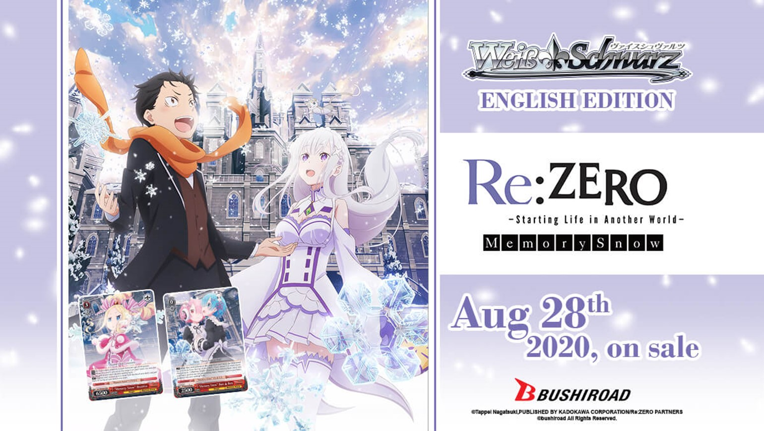 Weiss Schwarz: Booster Pack Re:ZERO -Starting Life in Another World- Memory Snow On Sale August 28th!