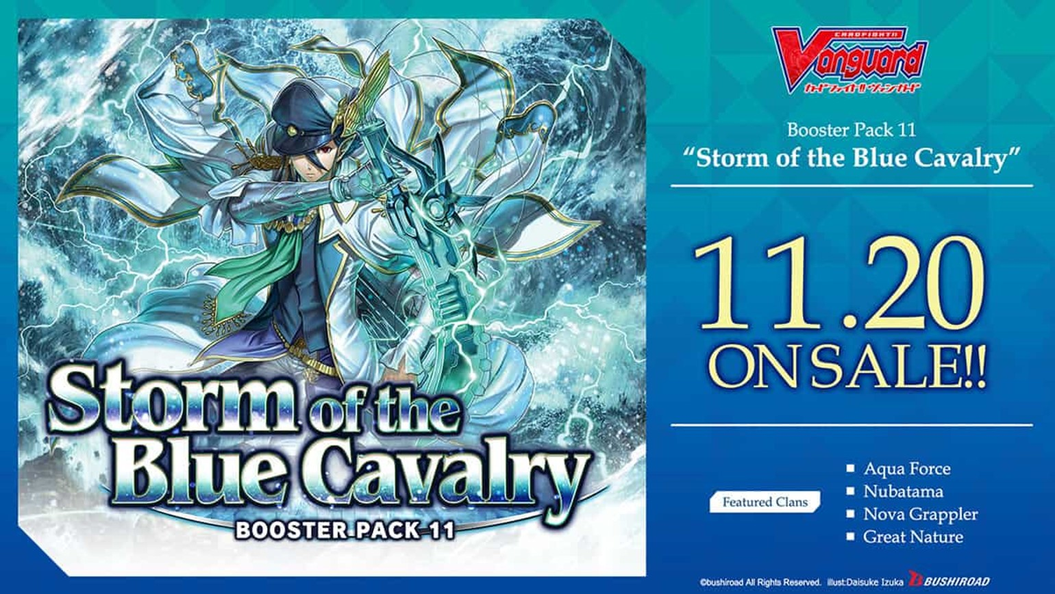 New English Edition Cardfight!! Vanguard Booster Pack Vol. 11: Storm of the Blue Cavalry is Coming to Stores on November 20th!