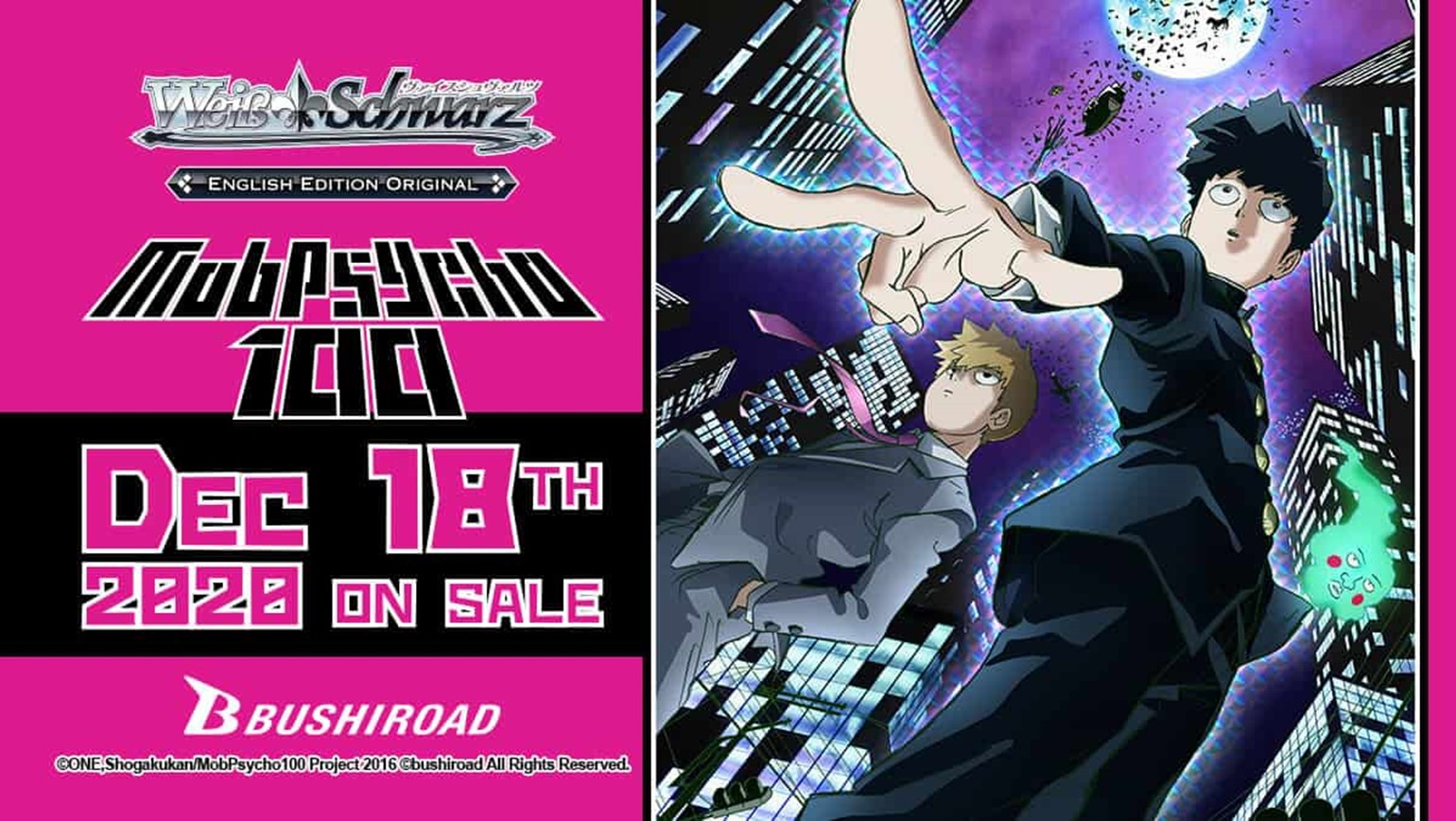 Weiss Schwarz: Mob Psycho 100 Hits Your FLGS Shelves December 18th!